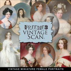 Far Far Hill - Free database of digital illustrations and papers: Freebies Kit of Vintage Miniature Female Portraits...