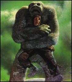 Fantasy Images, Fantasy Art, 70s Sci Fi Art, Bigfoot, Daydream, Moonlight, Weird, Lion Sculpture, Creatures