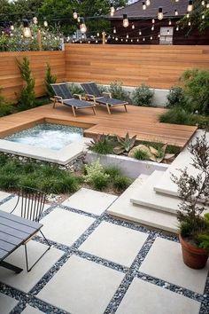 53 Cozy Backyard Patio Deck Design & Deco Ideas - Deco patios In the Hot Tub Deck, Hot Tub Backyard, Cozy Backyard, Backyard Kitchen, Backyard Playground, Playground Kids, Backyard Beach, Large Backyard, Small Garden Kitchen