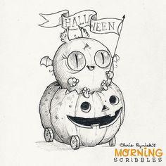 Happy Halloween everyone ! Cute Monsters Drawings, Cartoon Monsters, Kawaii Drawings, Little Monsters, Cute Drawings, Fröhliches Halloween, Halloween Doodle, Halloween Drawings, Halloween Coloring