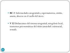  BC 2 Enfermedades urogenitales, espermatorrea, cistitis, anuria, absceso en el cuello del útero.  V 52 Disfunciones del...