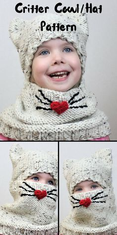 Thinking about making these for my little munchkins for Valentine's Day.  Cat Cowl/Hat Pattern to print.  #knitting #handmade #critter #hat #cowl #valentines #love #etsy #ad