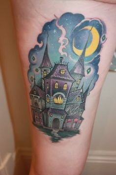 Haunted House Tattoo On Side Thigh