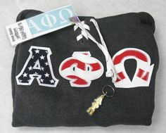 Alpha Phi Omega Fraternity Apparel Package $30 for hoodie, car decal and key chain