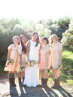 lace & mismatched bridesmaids' dresses...with boots! super cute for an outside wedding