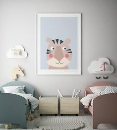 New Baby Nursery art prints – favourite animals – printspace Related posts:Quatrefoil shape mirrors in the baby's room are a trendy decor item to decor. Boy And Girl Shared Room, Shared Rooms, Baby And Toddler Shared Room, Kids Bedroom Designs, Kids Room Design, Girl Room, Girls Bedroom, Trendy Bedroom, Baby Nursery Art