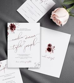 Burgundy and Wine Wedding Invitations with Silver Florals Details Card Reception Card RSVP Card Self-Editable Templates Formal Wedding Invitations, Rustic Invitations, Wedding Invitation Design, Invitation Cards, Wedding Cards, Wedding Favors, Wedding Decorations, Wedding Ideas, Wedding Gifts