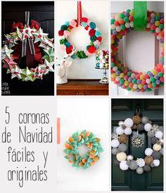 5 Coronas de Navidad fáciles y originales Outdoor Christmas, Christmas Time, Christmas Crafts, Christmas Decorations, Seasonal Decor, Holiday Decor, Xmas Wreaths, Door Accessories, Winter Is Coming