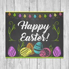 Printable Happy Easter Sign / Poster - 2 sizes - 8x10 inches & 16x20 inches This adorable Happy Easter Sign is a great way to tie your Easter Egg Themed party / brunch together. ===================== Whats Included? ===================== * 2 High Resolution PDFs - 8x10 &a...