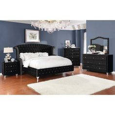 Homy Living Deanna Black Velvet And Wood Finish 4 Piece Queen Bedroom Set Upholstered Bedroom Set, Upholstered Platform Bed, Bedroom Furniture Sets, Fine Furniture, Bedroom Ideas, Bedroom Designs, Bedroom Decor, Velvet Upholstered Bed, Wingback Bed