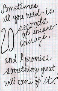"""Sometimes all you need is 20 seconds of INSANE courage...   and I promise something great will come of it"""