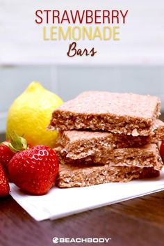 Fruity, tart, and refreshing, these Strawberry Lemonade Shakeology Energy Bars will satisfy your sweet tooth and power you up for your next workout. Get the recipe here! // healthy recipes // summer // shakeology recipes // snacks // cheats and treats // Healthy Summer Recipes, Healthy Food Options, Snack Recipes, Dessert Recipes, Dessert Bars, Delicious Desserts, Diet Recipes, Recipies, Strawberry Lemonade Bars Recipe