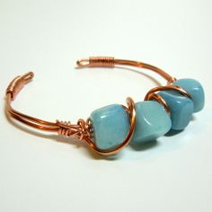 Wire Wrapped Lt Sapphire Dyed Jade Nuggets Adjustable Bangle Bracelet