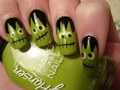 Frankenstein nail art for Halloween Get Nails, Love Nails, How To Do Nails, Pretty Nails, Hair And Nails, Funky Nails, Nail Art Halloween, Fröhliches Halloween, Halloween Nail Designs