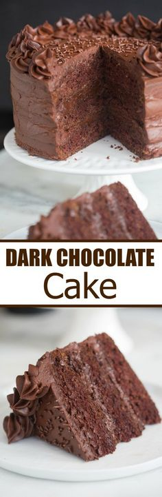 This is the Dark Chocolate Cake of my DREAMS! Tender, moist homemade chocolate cake with the best smooth, rich, dark chocolate frosting. | Tastes Better From Scratch