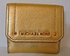 6a17a39bc879 Michael Kors Hayes Gold Pebble Leather MD Trifold Coin Case for sale online
