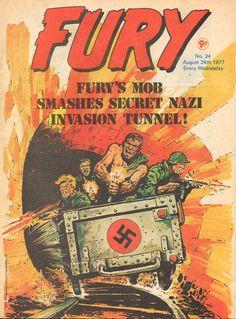 Cover for Fury (Marvel UK, 1977 series) Comics Uk, War Comics, Marvel Comics, Pulp Fiction Comics, Comic Art, Comic Books, Western Comics, Bruce Timm, British Boys