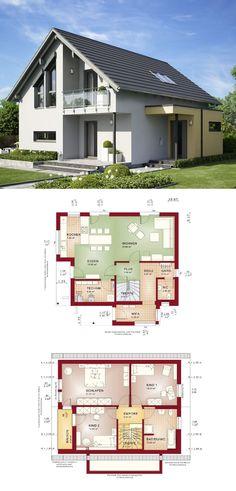 Einfamilienhaus Edition 1 V6 Bien Zenker - Haus bauen Grundriss modern 4 Zimmer Satteldach offene Küche mit Theke und Essplatz Fassade Putz Hauseingang Anbau Vordach Terrasse Balkon ( Hausbaudirekt.de )