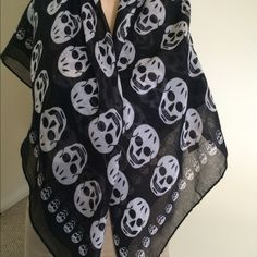 Skull Scarf Shawl Shawl with skull images. None Other