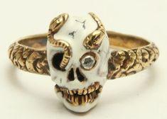 A Magnificent Memento Mori Enamel Skull & Snake Ring Circa 1800's