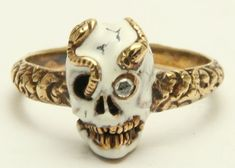 A Magnificent Memento Mori Enamel Skull & Snake Ring Circa 1800's @cthomsonmorley  pretty awesome!