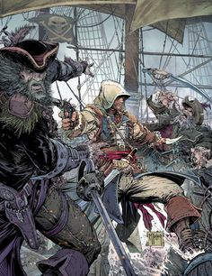 Assassins Creed IV: Black Flag artwork: Comic Book Poster by Todd McFarlane