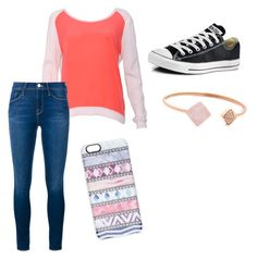 """""""I would so we're this"""" by softballsweetie03 on Polyvore featuring Sandro, Frame Denim, Converse, Michael Kors, Casetify, women's clothing, women, female, woman and misses"""