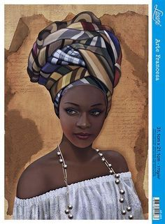 """""""African in White"""" - French Art {figurative beautiful female headdress pearls bl. - Simone Curtis - - """"African in White"""" - French Art {figurative beautiful female headdress pearls bl. Black Love Art, Black Girl Art, Art Girl, African Artwork, African Art Paintings, African Prints, African Fabric, African Drawings, African Beauty"""