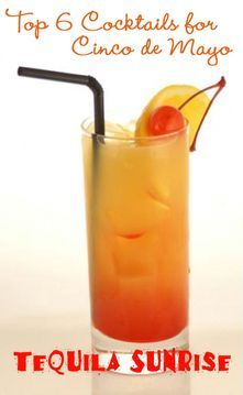 Tequila Sunrise Cocktail recipe for Cinco de Mayo or just for fun   TheInvitationShop.com