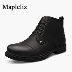58.39$  Watch here - Malpeliz Brand Men Shoes Genuine Leather High Quality Male Boots Big Size New Solid Lace-Up Ankle Round Toe Boots For Men  #magazineonlinewebsite