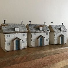 Rustic driftwood cottages #shabbydaisies #shabbychic #rustic #driftwoodart #driftwood #handmade #cottage #driftwoodcottage #woodenhouse #rusticart #porch