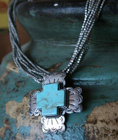 Silver Cross with Turquoise Colored Stone @Teskeys