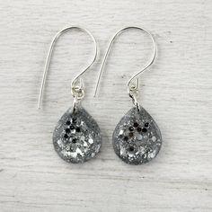silver glitter teardrop earrings on sterling silver earwires - everyday jewelry. $19.00, via Etsy.
