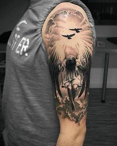 Stunning half sleeve angel tattoo