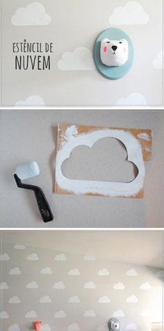 Dekorerer væggen med maling. Du kan bruge lige det mønster du synes. Kun fantasien sætter grænser!