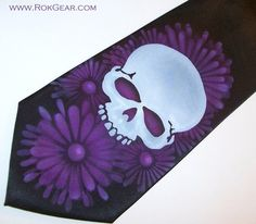 Necktie Black Tie Purple Daisy Flowers and Skull by RokGear, Airbrushed one at a time