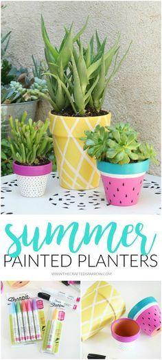 Summer Painted Planters #SharpiePaintCreate #Pmedia [ad]