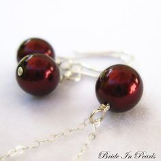 bridesmaid jewelry sets, love this deep garnet red, perfect for autumn weddings