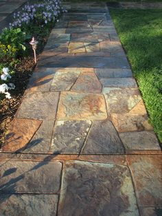 stamped and stained concrete flagstone patio...love all of the ... - Ideas To Cover Concrete Patio