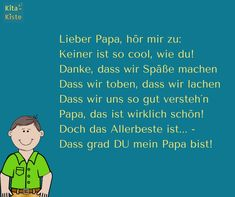 """"""" - Vatertag Gedicht - aus """"Reime der Kita-Kiste - www."""" - Father's Day poem - from """"Reime of the Kita box - www. Fathers Day Poems, Kindergarten Portfolio, Dear Dad, Diy Crafts To Do, Easy Crafts, Kids And Parenting, Diy For Kids, Dads, Lettering"""
