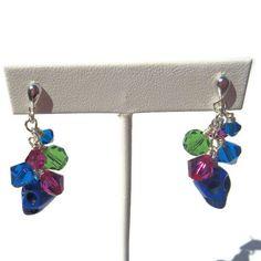 Blue Skulls, Green Crystal and Blue Fuchsia Swarovski Crystal Dangle Earrings - Post backs $15.00