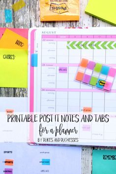 printable post it notes and tabs for a planner #ad #MakeItStick #PostIt @3M @walmart