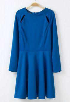 Vestido volante hueco manga larga-azul US$30.82