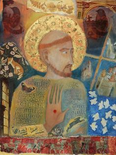 St. Francis of Assissi   Picturebook   iconic image of St. Francis of Assisi, collage and paint -- Melanie Hall