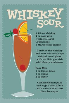Easy recipe for a great drink. Whiskey sour, my favorite drink, with homemade sour mix.better make a big batch of sour mix ahead of time! Whiskey Drinks, Bar Drinks, Alcoholic Drinks, Beverages, Bourbon Cocktails, Sour Cocktail, Cocktail Drinks, Cocktail Recipes, Signature Cocktail