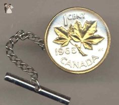 Gorgeous 2-Toned Gold on Silver Canadian  Maple leaf,  coin - Tie or Hat tack - Groom cufflinks and tie clips (*Amazon Partner-Link)