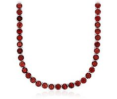 Round Garnet Necklace in Sterling Silver: would prefer oval stones like this