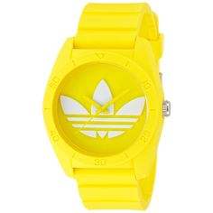 Wear bright, energetic style on your arm. Designed by Adidas, this striking yellow timepiece features a simple dial that is highlighted with a white logo. A yellow silicone band with a pin buckle clasp ties this exotic piece together.