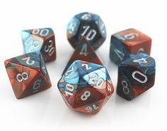 RPG Dice Set (Gemini Copper and Teal) role playing game dice