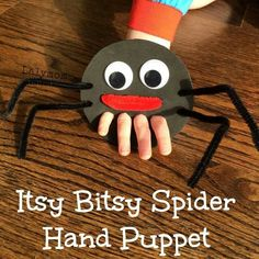 Itsy Bitsy Spider Finger Puppet for Fine Motor Play - Nursery rhyme crafts Nursery rhymes activities Rhyming activities Toddler crafts Nursery rhymes preschool Crafts - Nursery Rhyme Crafts, Nursery Rhymes Preschool, Preschool Crafts, Kids Crafts, Crafts With Toddlers, Nursery Activities, Spider Art Preschool, Autumn Crafts Kids, Nursery Rhyme Theme